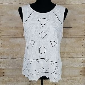 Lucky Brand Embroidered Eyelet Tank Top